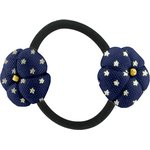 Japan flower pony-tail holder navy gold star - PPMC