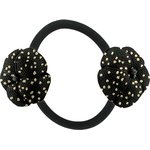 Japan flower pony-tail holder glitter black - PPMC
