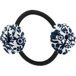 Japan flower pony-tail holder scandinave navy blue - PPMC