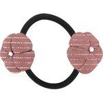 Goma de pelo con flores gasa lurex rosa polvoriento - PPMC