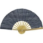 Hand-held fan striped silver dark blue - PPMC