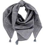 Pom pom scarf gauze gray gold - PPMC