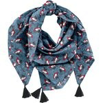 Pom pom scarf flowered night - PPMC