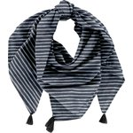 Pom pom scarf striped silver dark blue - PPMC