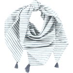 Pom pom scarf striped blue gray glitter - PPMC