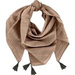 Pom pom scarf bronze copper stripe  - PPMC
