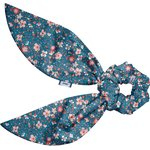 Short tail scrunchie fleuri nude ardoise - PPMC