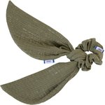Short tail scrunchie khaki lurex gauze - PPMC