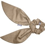 Short tail scrunchie gold linen - PPMC