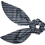 Short tail scrunchie striped silver dark blue - PPMC