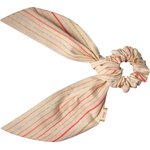 Short tail scrunchie silver pink striped - PPMC