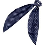 Long tail scrunchie navy blue spots - PPMC