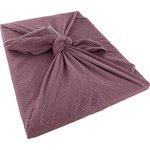 Furoshiki grand 73 x 73 cm gaze lurex vieux rose  - PPMC