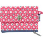 zipper pouch card purse small flowers pink blusher - PPMC