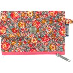 zipper pouch card purse peach flower - PPMC