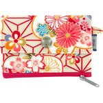 zipper pouch card purse flowers origamis  - PPMC