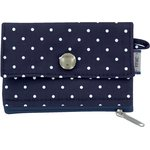 zipper pouch card purse navy blue spots - PPMC