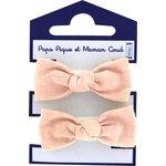 Gomas de pelo con lazos gasa de algodón rosa - PPMC