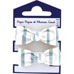 Small elastic bows striped blue gray glitter - PPMC