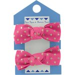 Small elastic bows fuchsia gold star - PPMC