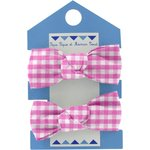 Small elastic bows fuschia gingham - PPMC