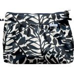 Pleated clutch bag black linen foliage  - PPMC