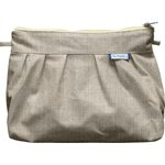 Pleated clutch bag silver linen - PPMC