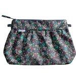 Pleated clutch bag green azure flower - PPMC