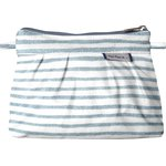 Mini Pleated clutch bag striped blue gray glitter - PPMC