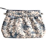 Pleated clutch bag jouy cloth navy blue - PPMC