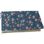 Chequebook cover fleuri nude ardoise - PPMC