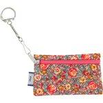 Pochette porte-clés floral pêche - PPMC
