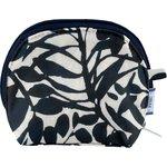 gusset coin purse black linen foliage  - PPMC