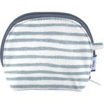 gusset coin purse striped blue gray glitter - PPMC