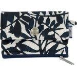 zipper pouch card purse black linen foliage  - PPMC