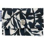 Porte multi-cartes feuillage lin noir - PPMC