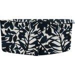 Flap of shoulder bag black linen foliage  - PPMC