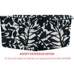 Flap of shoulder bag black linen foliage  - PPMC