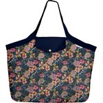 Tote bag with a zip pink blue dalhia - PPMC