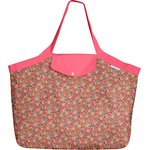 Tote bag with a zip peach flower - PPMC