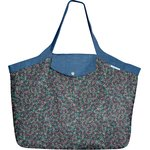 Tote bag with a zip green azure flower - PPMC