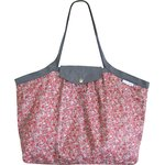 Pleated tote bag - Medium size paprika mini flower - PPMC