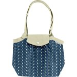 Pleated tote bag-Small size blue elephant - PPMC