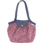 Pleated tote bag-Small size paprika mini flower - PPMC