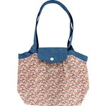 Pleated tote bag-Small size carnations jeans - PPMC
