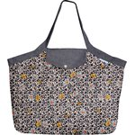 Tote bag with a zip ochre flower - PPMC