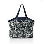 Pleated tote bag - Medium size black linen foliage  - PPMC