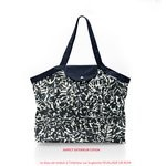Pleated tote bag - Medium size black linen foliage  - PPMC