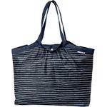 Bolso  cabas  mediano con cremallera azul plata rayado - PPMC