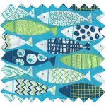 Cotton fabric shoal of fish - PPMC